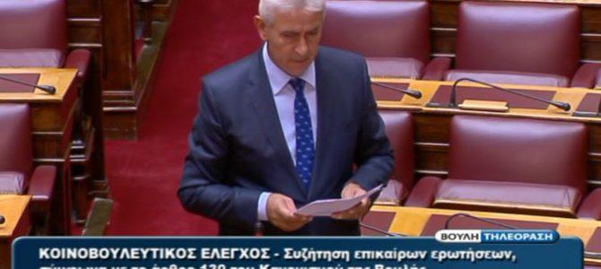 Ομιλία στη Βουλή στην Επίκαιρη Ερώτηση για τη σηροτροφία
